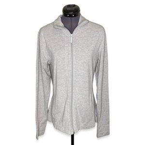 Roots Active Full Zip Up Collared Grey Sweater